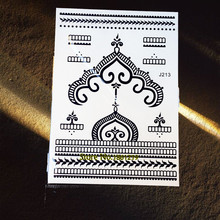 1PC Crown Design Glitter Metallic Tattoo Stickers Women GBJ213 Girl Black Henna Tattoo Paste Bracelet Jewel Brand New Style 2016