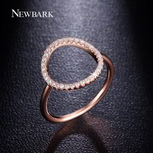 NEWBARK Sparkling Hoop Ring Pave Cubic Zirconia Rose Gold and Silver Color Fashion Round Circle Simple Rings Jewelry Gilr Gifts