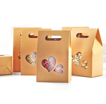 10x15cm Cute Kraft Paper Food Packaging Bag with Loving Heart Window and Handle, for Food Cookies Candy Meat Baking,100 Pack