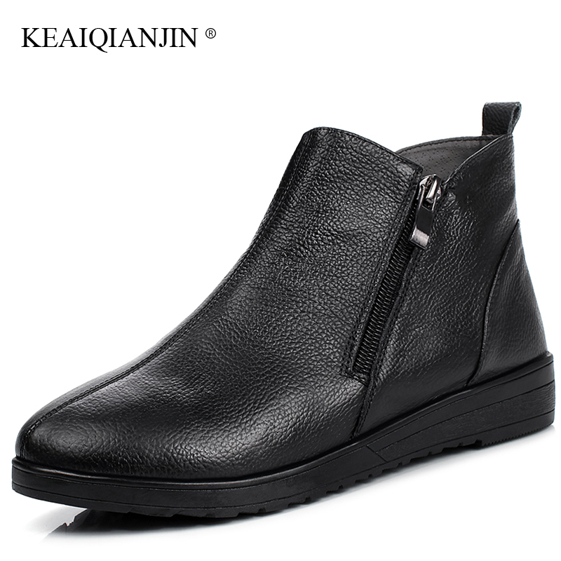 KEAIQIANJIN Woman Platform Boots Autumn Winter Chelsea Boots Platform Boots Genuine Leather Black Golden White  Martins Boots<br>