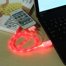 LED light luminous 30 pin phone power charger charging data sync line rope cord wire cable for iPhone 3G 3GS 4 4s iPad 2 3 iPod