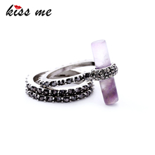 KISS ME 3pcs/ Set Purple Natural Stone Rhinestone Finger Ring Women New Anniversary Rings Fashion Jewelry(China)