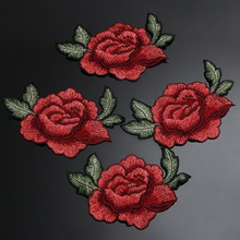 4Pcs Diy Roses patches for clothing  embroidered patch applique patches sewing accessories badge stickers for clothes bag