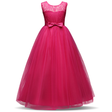 Long Gown Children Lace Princess Girl Dress for Wedding Birthday Party Teenage Girl Kids Evening Prom Dresses for Girls 6-14T