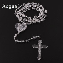 Factory 6mm Clear Plastic Rosaries Plastic Rosary Heart Beads Cheap Necklace Catholicism Prayer Religious Jewelry(China)