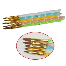 1 Set 5Pcs 2-Ways Sable Brush Acrylic UV Gel Nail Art Builder Brush Liner Design For Acrylic Nail Brush Set