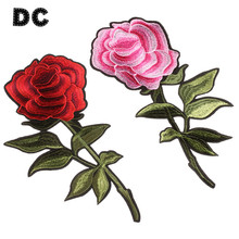 DC 2PCS Pink Red Rose Flower Embroidery Patches For Clothing Iron Sticker Bags Phone Case Choker Necklace DIY Making Findings