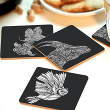 1pc Creative Wood Coasters Cup Cushion Holder Non-Slip Heat Proof Coffee Coasters Cup Mat DIY Hand Painted V3205
