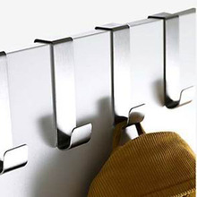 2Pcs Over Door Hook Stainless Kitchen Cabinet Clothes Hanger Organizer Holder(China)