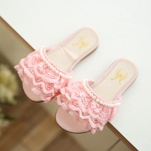 Hot SALE girls shoes 2016 summer new lace beading fashion girls sandals child skid beach princess shoes sandals size 23-36