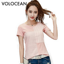 Volocean Famous Brand 2017 Summer Cotton T-shirts For Women Patchwork T Shirt Woman Embroidered Female T-shirt Plus Size