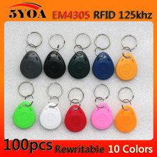 100pcs em4305 Copy Rewritable Writable Rewrite Duplicate RFID Tag Proximity ID Token Key Keyfobs Ring 125Khz Card Access