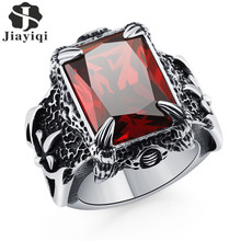Jiayiqi Dark Blue Big Stone Ring For Man Stainless Steel Man's Classic Dragon Claw Punk Jewelry Red/Blue/Black /Green Crystal(China)