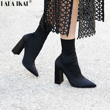 LALA IKAI Sexy Stretch Fabric High Heel Ankle Boot Women Slip-On Square Heel Short Boots Zapatos Mujer 040N1390-4