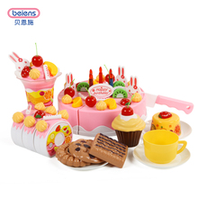 Beiens Brand Toys DIY Toys 37Pcs Pretend Play Cutting Birthday Cake Food Toy Kitchen For Children Plastic Play Food Tea Set(China)