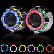 2.5inch Double Angel Eyes CCFL Bi-xenon HID Projector headlight Lens LHD RHD use bulb H1 with H4 H7 adapter car styling