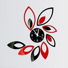 Modern Design Large Digital Wall Clocks Sticker 3D Flower Kitchen clock Craft Crystal Home Decorative Self Adhesive Wall Clock