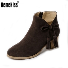 Women Real Genuine Leather Ankle Boots Woman Round Toe Heels Shoes Sweet Bowtie Bowknot Botas Feminina Size 34-39