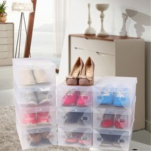 28 x 18 x 10 cm Transparent Womens Stackable Crystal Clear Plastic Shoes Storage Boxes 11pcs /lot Free Shipping(China)