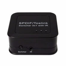 New Audio splitter 3 in 1 out  SPDIF TOSLINK Digital Optical Audio Switch Splitter Box with IR