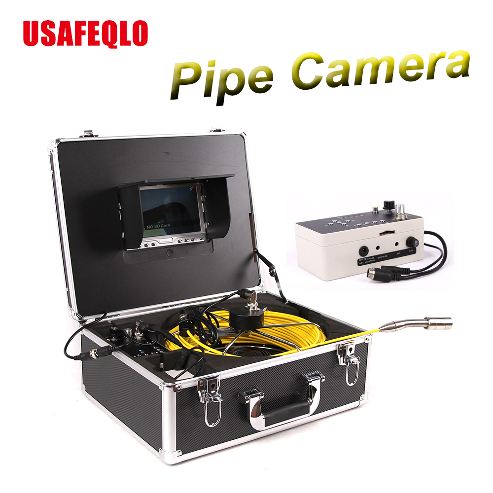 "Duct Cleaning Sewer Pipe Camera System Equipment For Pipeline & Wall Inspection with 7"" LCD DVR Functional 50m Fiberglass Cable(China)"