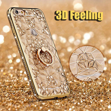 Leanonus 3D Rugged Flower Glitter Diamond Phone Case For Samsung Galaxy Note8 S8 S8 Plus S7 Edge S8+ TPU Metal Ring Cover Note 8(China)