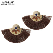 MANILAI 5 Colors Indian Jewelry Tassel Earrings Women Fashion Resin Golden Metal Fringed Statement Dangle Earrings Brincos 2017(China)