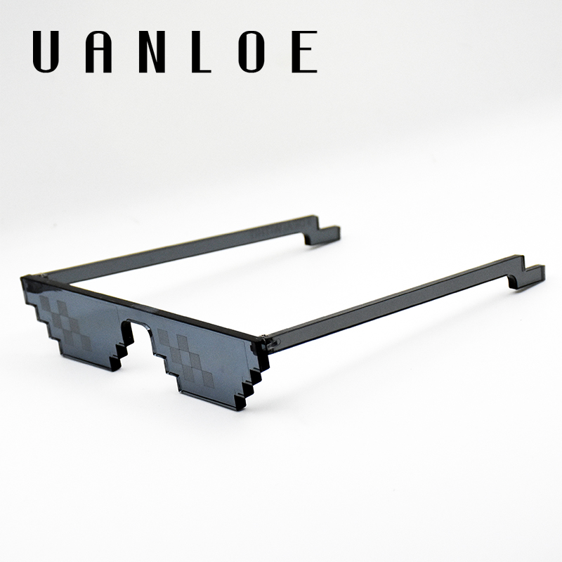 UANLOE Hot Selling Pixels Sunglasses Game Design Mosaic Glasses Cosplay Funny Modeling Eyewear High Quality Frame Deal with It(China)