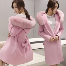 Buy New Wool Coat Fashion Winter Fur collar Warm Woolen Coat plus size Long Section Women Slim Pure Color Coat WC012 for $50.48 in AliExpress store