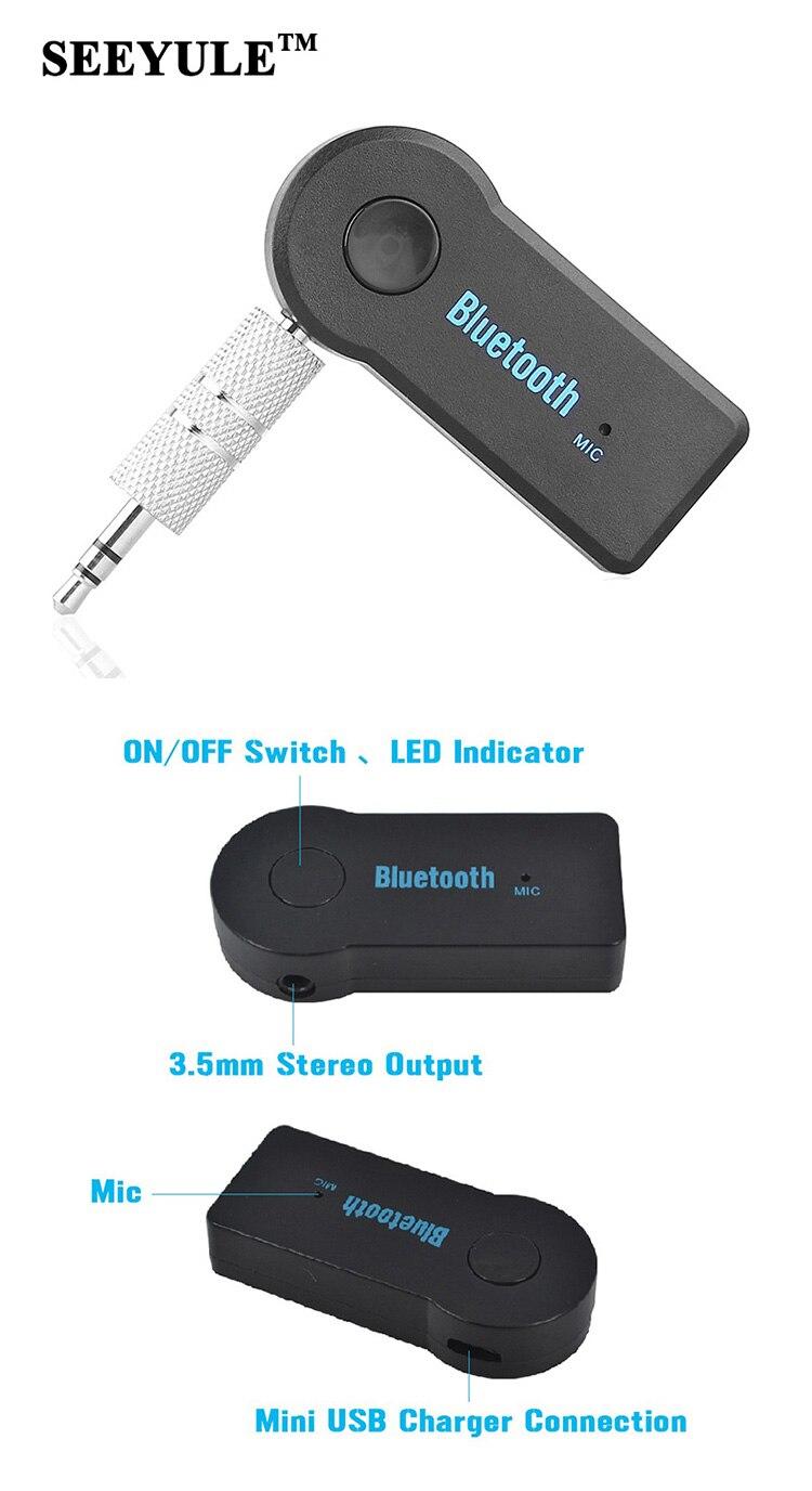 1pc SEEYULE Wireless Bluetooth Receiver Speaker Headphone Adapter car 3.5MM Audio Stereo Music Receiver Home Hands-free