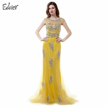 Long Yellow Evening Dresses 2018 New Arrival Mermaid Scoop Backless Stunning Beaded Crystal African Formal Prom Evening Gown(China)
