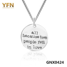 YFN 925 Sterling Silver Round Shape Message Necklace All Because Two People Fell In Love Coin Pendants Necklaces GNX0424(China)