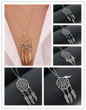na475 1pcs Dreamcatcher hollow leaves pendant fake wings accessories chain necklace clavicle prevent allergy 2017(China)