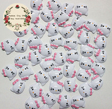 50pcs 12mm very cute hello kitty with pink bow resin flatback cabochon DIY crafts scrapbooking,CT1007(China)