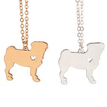 Gold & silver necklace explosion models cute pug dog necklace animal jewelry necklace dog lovers to the dear friends(China)