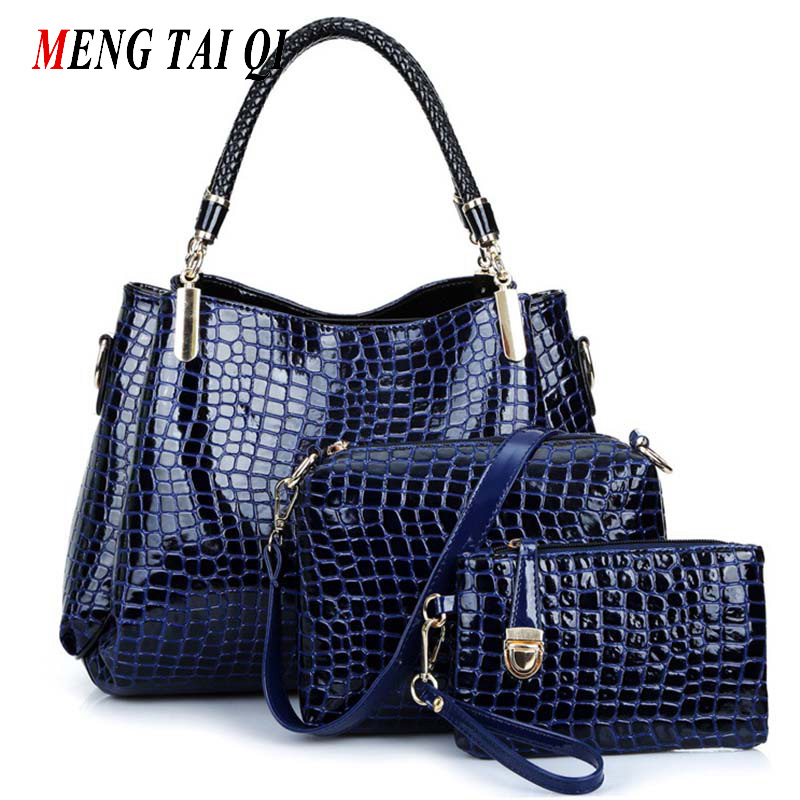 Women Bag 2016 New Crocodile Pattern Leather Bags Women Shoulder Bags Ladies Purses And Handbags High Quality Black Tote 3 Set 4<br>
