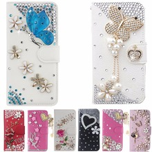 Phone Case For Huawei Y3 2017,Luxury Bling Diamond Flip Leather , Wallet Style Cover With Card Slot Phone Bag(China)