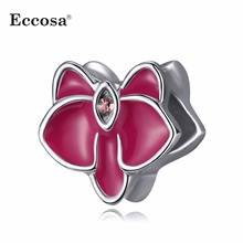 Eccosa Enamel Beads For Jewelry Making Crystal Orchid  Bead Fit Diy Women Accessories Charms Bracelets & Bangles Berloque