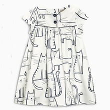 new summer cat graffiti cotton baby girls dress toddler kids clothes casual children dresses