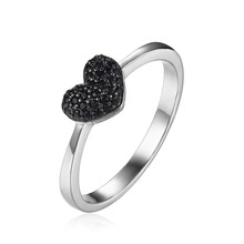JewelryPalace Fashion 0.14ct Natural Black Spinel Love Heart Rings For Women 100% 925 Sterling Silver Wedding Gifts Fine Jewelry(China)