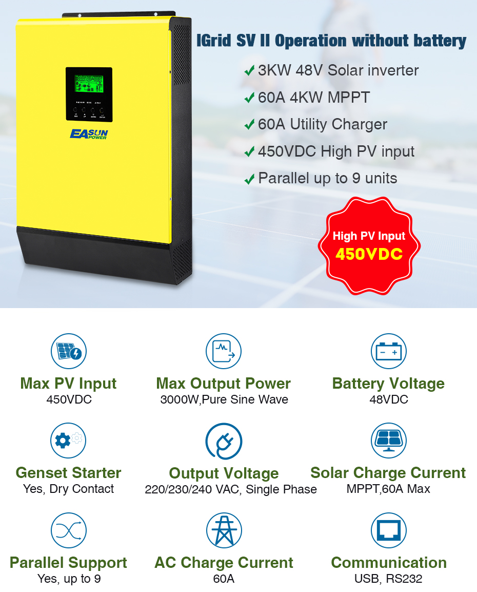 EASUN POWER Hybrid Solar inverter 3000W 48V 220V High PV Input 450Vdc MPPT Solar Charger 60A Power Inverter Grid Tied Inverter01