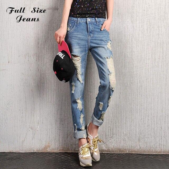 Разорвал бойфренд джинсы для женщин Большой размер мода джинсовая широкий рваные джинсы рок винтаж уничтожены штаны 26 24 22 Bf 3Xl 20 16