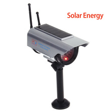 Indoor Outdoor Solar Powered Fake Camera Dummy Bullet CCTV Camera Red LED Flashing Light Surveillance Cam for Home Security