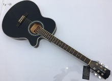 black color thin body acoustic guitar with equalizer free shipping free string free case(China)