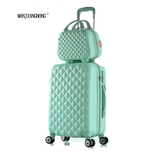 "28""+12""Hot sales Diamond lines Trolley suitcase set/travell case luggage/Pull Rod trunk rolling spinner wheels/ ABS boarding bag(China)"