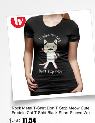 abb3a61f4f Detail Feedback Questions about Rock Metal T Shirt Don T Stop Meow ...