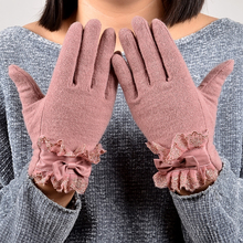 [BYSIFA] Ladies Pink Rabbit Hair Wool Mittens Gloves Fashion Women Gloves Elegant Lace Embroidery Bow Tie Thick Warm Soft Gloves(China)