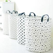 Large Dots Five-pointed star Cloth Laundry Hamper Clothes Storage Baskets Home Clothes barrel Bags kids toys storage organizer(China)