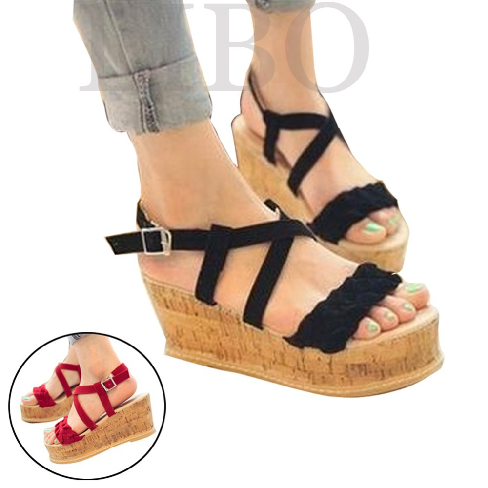 New Women Shoes 2017 Summer Small Twist Braided Cross Straps Wedge Sandals Shoes Women Strappy Fashion Womne Sabdals Shoes<br><br>Aliexpress