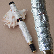 JINHAO NOBLEST SILVER TWO DRAGON PLAY PEARL ROLLER BALL PEN CRYSTAL